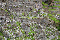 Peru, Machu Picchu, Western Urban Sector.  Note Bracing to Prevent Wall Collapse, left side.