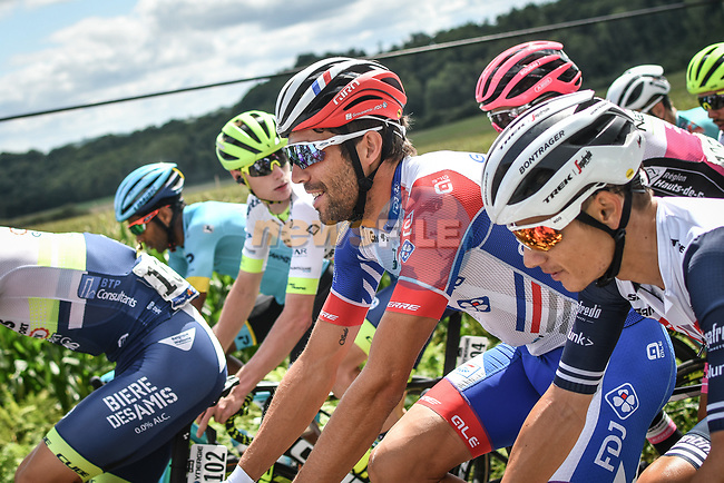 The peloton including Thibaut Pinot (FRA) Groupama-FDJ during Stage 3 of the Route d'Occitanie 2020, running 163.5km from Saint-Gaudens to Col de Beyrède, France. 3rd August 2020. <br /> Picture: Colin Flockton | Cyclefile<br /> <br /> All photos usage must carry mandatory copyright credit (© Cyclefile | Colin Flockton)