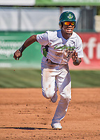 5 September 2016: Vermont Lake Monster infielder JaVon Shelby in action against the Lowell Spinners at Centennial Field in Burlington, Vermont. The Lake Monsters defeated the Spinners 9-5 to close out their 2016 NY Penn League season. Mandatory Credit: Ed Wolfstein Photo *** RAW (NEF) Image File Available ***