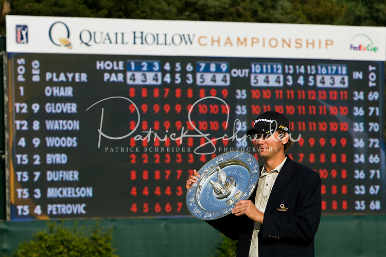 Golfer Sean O'Hair receives the top award during the Quail Hollow Championship golf tournament 2009. The event, formerly called the Wachovia Championship, is a top event on the PGA Tour, attracting such popular golf icons as Tiger Woods, Vijay Singh and Bubba Watson. Photos from the final round in the Quail Hollow Championship golf tournament at the Quail Hollow Club in Charlotte, N.C., Sunday, May 03, 2009.