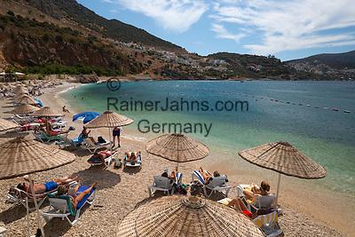 Turkey, Province Antalya, Kalkan: popular resort on the Mediterranean Coast - beach   Tuerkei, Provinz Antalya, Kalkan: beliebter Ferienort an der Mittelmeerkueste - Strand