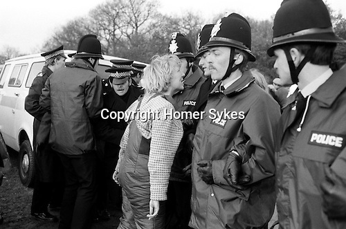 Greenham Common womens CND Peace Camp, woman protest  protesting shouting at police line  Berkshire 1983 1980S 80s UK
