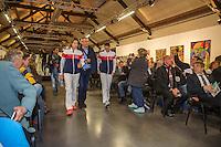Arena Loire,  Trélazé,  France, 14 April, 2016, Semifinal FedCup, France-Netherlands, Draw,  French team enters<br /> Photo: Henk Koster/Tennisimages