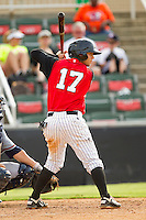 Joey DeMichele (17) of the Kannapolis Intimidators at bat against the Rome Braves at CMC-Northeast Stadium on August 5, 2012 in Kannapolis, North Carolina.  The Intimidators defeated the Braves 9-1.  (Brian Westerholt/Four Seam Images)