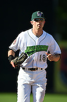 Jamestown Jammers outfielder Carl Anderson (18) jogs to the dugout during a game against the Mahoning Valley Scrappers on June 15, 2014 at Russell Diethrick Park in Jamestown, New York.  Jamestown defeated Mahoning Valley 9-4.  (Mike Janes/Four Seam Images)