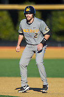 Dillon Everett (2) of the Missouri Tigers takes his lead off of first base against the Wake Forest Demon Deacons at Wake Forest Baseball Park on February 22, 2014 in Winston-Salem, North Carolina.  The Demon Deacons defeated the Tigers 1-0.  (Brian Westerholt/Four Seam Images)
