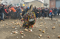 People throw turnips at the Jarramplas as he makes his way through the streets beating his drum during the Jarramplas Festival on January 20, 2015 in Piornal, Spain. The centuries old Jarramplas festival takes place annually every January 19-20 on Saint Sebastian Day. Even though the exact origins of the festival are not known, various theories exist including the mythological punishment of Caco by Hercules, a relation to ceremonies celebrated by the American Indians that were seen by the first conquerors, to a cattle thief ridiculed and expelled by his village neighbours. It is generally believed to symbolize the expulsion of everything bad. This year the people who represented Jarramplas were Angel Cerro Fernandez on 19 January and Carlos Calle Rodríguez 47 and Raúl Beites Sánchez 34 on 20 January.. (c) Pedro ARMESTRE