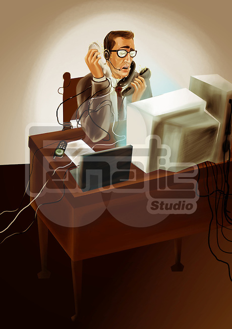 Multi-tasking businessman talking on telephone in an office