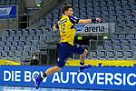 Alexander Petersson (Rhein Neckar Löwen Nr.32) allein vor dem Tor - beim Bundesligaspiel: Rhein Neckar Loewen gegen SC DHfK Handball Leipzig am 15.10.2020 in der SAP-Arena in Mannheim<br /> <br /> Foto © PIX-Sportfotos *** Foto ist honorarpflichtig! *** Auf Anfrage in hoeherer Qualitaet/Aufloesung. Belegexemplar erbeten. Veroeffentlichung ausschliesslich fuer journalistisch-publizistische Zwecke. For editorial use only.