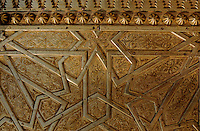 Intricate patterns of the door to the Royal Palace in Fez, Morocco.