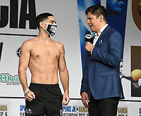 DALLAS, TX - DECEMBER 4: Danny Garcia is interviewed by Ray Flores at the weigh-in for the Errol Spence Jr. vs Danny Garcia December 5, 2020 Fox Sports PBC Pay-Per-View fight night at AT&T Stadium in Arlington, Texas. (Photo by Frank Micelotta/Fox Sports)