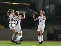 Charlotte Cranshoff (18) of OHL celebrates her goal during a female soccer game between FC Femina White Star Woluwe and Oud Heverlee Leuven on the fourth matchday in the 2021 - 2022 season of Belgian Scooore Womens Super League , Friday 10 th of September 2021  in Woluwe , Belgium . PHOTO SPORTPIX | SEVIL OKTEM