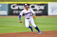 Tennessee Smokies shortstop Vimael Machin (1) reacts to the ball during a game against the Birmingham Barons at Smokies Stadium on May 15, 2019 in Kodak, Tennessee. The Smokies defeated the Barons 7-3. (Tony Farlow/Four Seam Images)