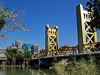 The Tower Bridge leading into downtown Sacramento, CA, US.