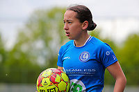 Rkia Mazrouai (2) of AA Gent with the ball during a female soccer game between Oud Heverlee Leuven and AA Gent Ladies on the 9 th matchday of play off 1 in the 2020 - 2021 season of Belgian Womens Super League , saturday 22 nd of May 2021  in Heverlee , Belgium . PHOTO SPORTPIX.BE   SPP   SEVIL OKTEM