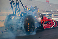 Aug 9, 2020; Clermont, Indiana, USA; NHRA top fuel driver Steve Torrence does a burnout during the Indy Nationals at Lucas Oil Raceway. Mandatory Credit: Mark J. Rebilas-USA TODAY Sports