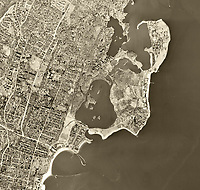 historical aerial photograph of Rye, Westchester County, New York, 1954