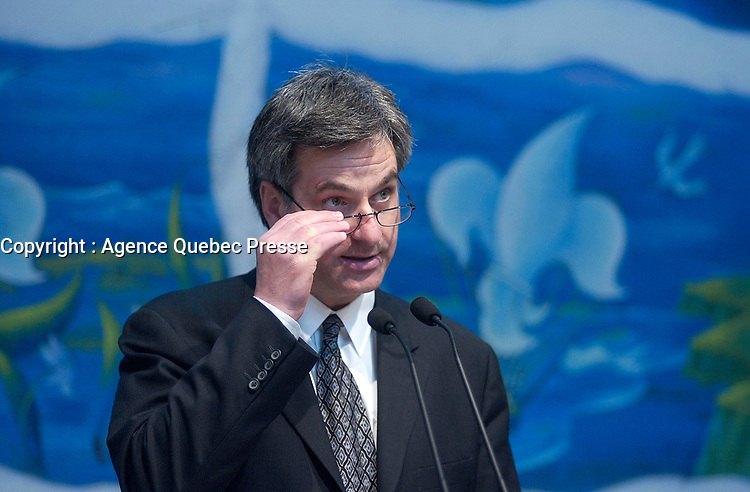 May 14  2003, Montreal, (Quebec), Canada<br /> <br /> Jean-Marc Fournier, Quebec Minister of Municipal Affairs, Sport and Leisure ( ministre des Affaires municipales, du Sport et du Loisir) explain the activities of the upcoming Quebec National Holliday,<br /> at a press conference, May 14 2003 in Montreal, Canada<br /> <br /> Photo : Pierre Roussel