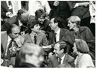 Robert Bourassa l'emporte sur les candidats Daniel Johnson et Pierre Paradis lors du congres a la chefferie du PLQ qui se termine le 15 octobre 1983<br /> <br /> <br /> PHOTO :  Agence Quebec Presse
