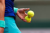 France, Paris , May 26, 2015, Tennis, Roland Garros, Hand and ball<br /> Photo: Tennisimages/Henk Koster