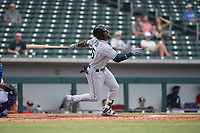 Peoria Javelinas shortstop Lucius Fox (5), of the Tampa Bay Rays organization, follows through on his swing during an Arizona Fall League game against the Mesa Solar Sox at Sloan Park on October 11, 2018 in Mesa, Arizona. Mesa defeated Peoria 10-9. (Zachary Lucy/Four Seam Images)