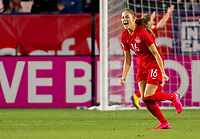 CARSON, CA - FEBRUARY 07: Janine Beckie #16 of Canada celebrates a goal during a game between Canada and Costa Rica at Dignity Health Sports Complex on February 07, 2020 in Carson, California.
