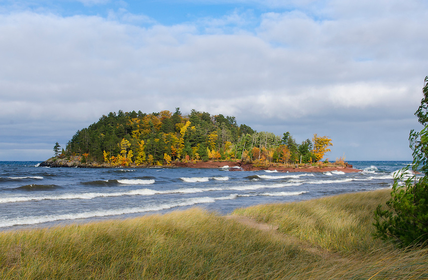Little Presque Isle island in full color as Lake Superior waves roll in. Marquette, MI