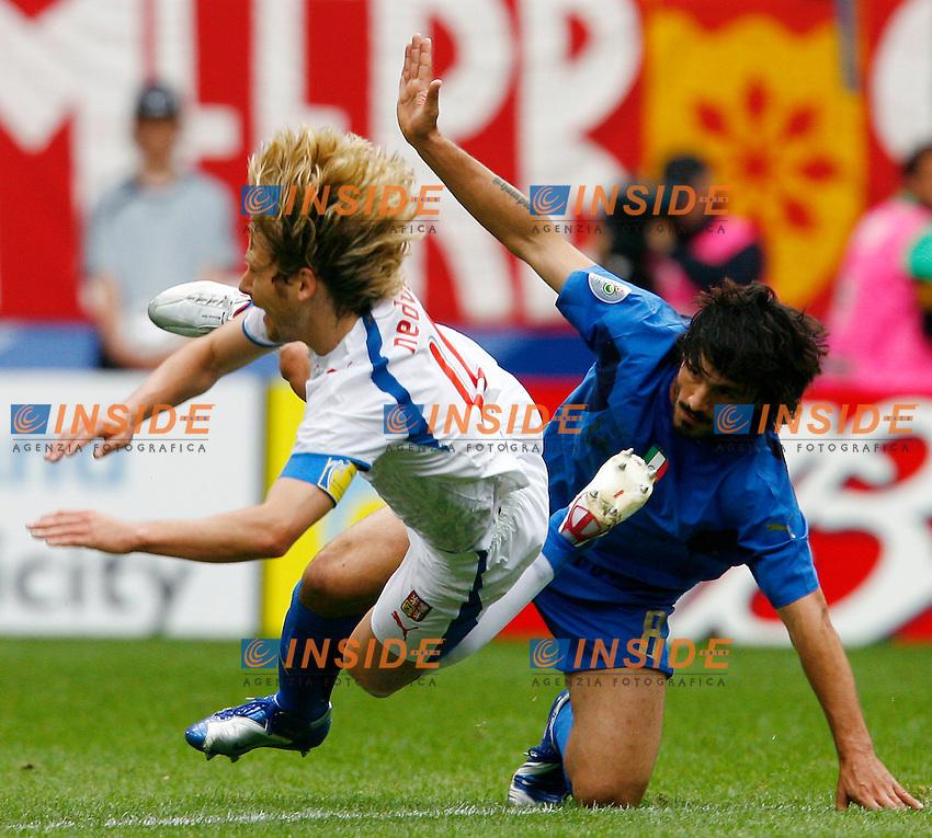 HAmburg 22/6/2006 World Cup 2006.Repubblica Ceca Italia 0-2 0-2.Photo Andrea Staccioli Insidefoto.Pavel Nedved Czech Republic Gennaro Gattuso Italy