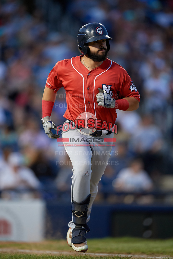 New Hampshire Fisher Cats Brock Lundquist (32) runs to first base during an Eastern League game against the Trenton Thunder on August 20, 2019 at Arm & Hammer Park in Trenton, New Jersey.  New Hampshire defeated Trenton 7-2.  (Mike Janes/Four Seam Images)