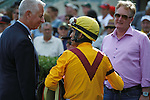 Trainer Todd Pletcher and jockey John Velazquez after winning  The Old Hat Stakes (G3) at Gulfstream Park with Kauai Katie.  Hallandale Beach Florida. 01-01-2013