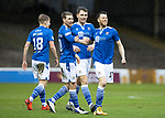 Motherwell v St Johnstone…20.02.21   Fir Park   SPFL<br />Guy Melamed celebrates his goal with David Wotherspoon, Jason Kerr and Ali McCann<br />Picture by Graeme Hart.<br />Copyright Perthshire Picture Agency<br />Tel: 01738 623350  Mobile: 07990 594431