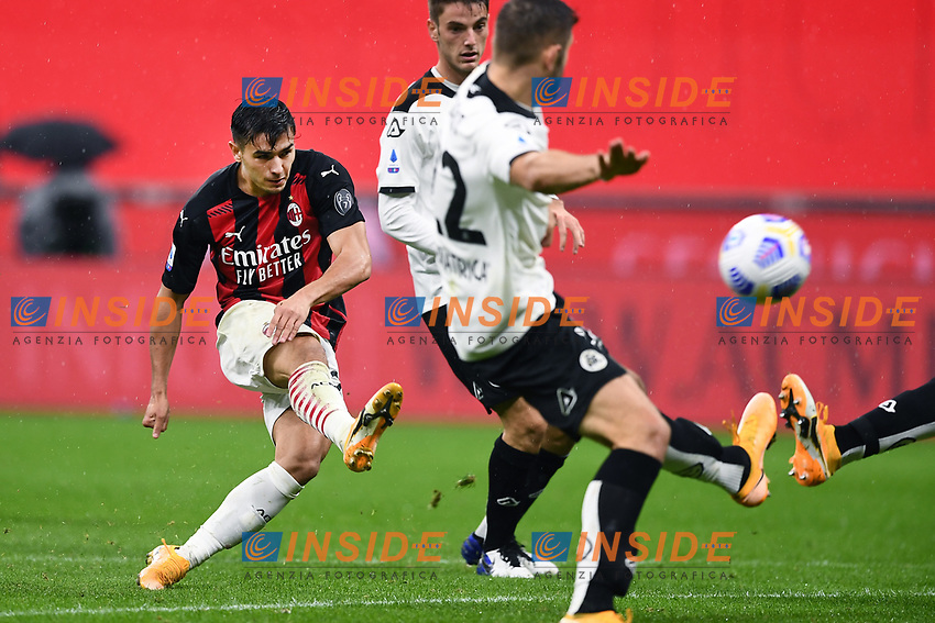 Brahim Diaz of Ac Milan in action during the Serie A football match between AC Milan and Spezia Calcio at San Siro Stadium in Milano  (Italy), October 4th, 2020. Photo Image Sport / Insidefoto