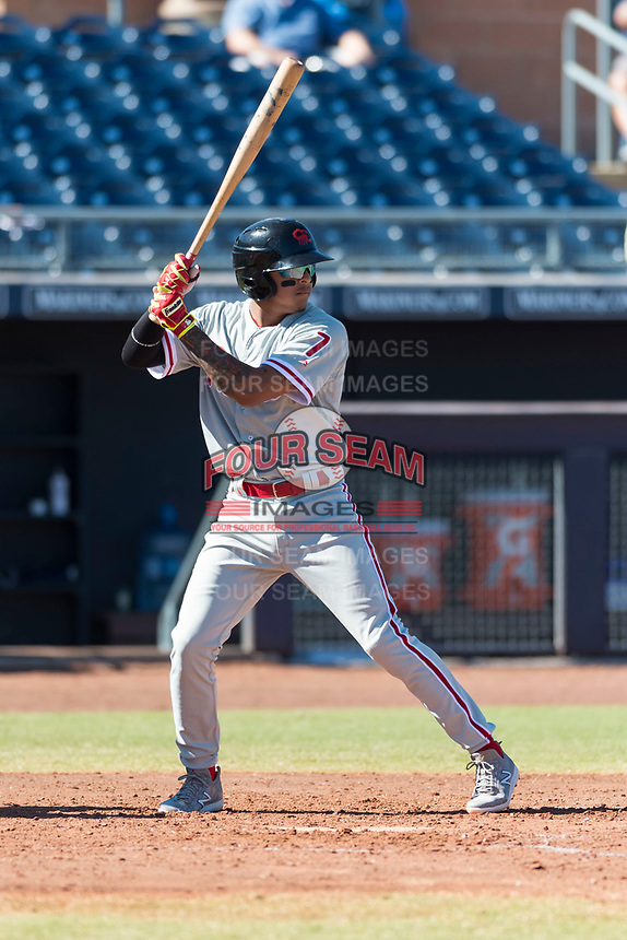 Scottsdale Scorpions third baseman Arquimedes Gamboa (7), of the Philadelphia Phillies organization, at bat during an Arizona Fall League game against the Peoria Javelinas at Peoria Sports Complex on October 18, 2018 in Peoria, Arizona. Scottsdale defeated Peoria 8-0. (Zachary Lucy/Four Seam Images)