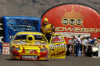 Apr 9, 2006; Las Vegas, NV, USA; NHRA Pro Stock racer Erica Enders returns to her pit area after winning in the second round of eliminations in her Slammers Ultimate Milk Chevrolet Cobalt at the Summitracing.com Nationals at Las Vegas Motor Speedway in Las Vegas, NV. Mandatory Credit: Mark J. Rebilas
