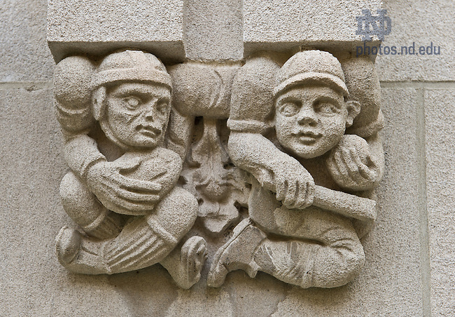 Oct. 23, 2013; Stone relief carvings outside the southwest door of Dillon Hall.<br /> <br /> Photo by Matt Cashore/University of Notre Dame