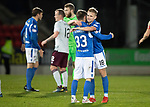 St Johnstone v Hearts…30.10.19   McDiarmid Park   SPFL<br />Ali McCann and Matty Kennedy celebrate at full time<br />Picture by Graeme Hart.<br />Copyright Perthshire Picture Agency<br />Tel: 01738 623350  Mobile: 07990 594431