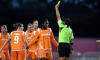 Sky Blue's Anita Asante (5) sets the wall as teammate Rosana (11) is cautioned by referee Veronica Brito.  Sky Blue defeated the Chicago Red Stars 1-0 in a mid-week game, Wednesday, June 17, at Yurcak Field.