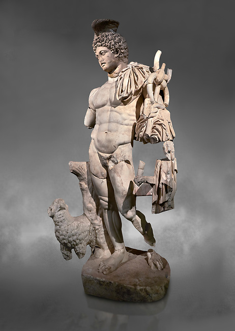 Roman statue of Hermes. Marble. Perge. 2nd century AD. Inv no . Antalya Archaeology Museum; Turkey.  Against a grey background<br /> <br /> Hermes is the god of trade, heraldry, merchants, commerce, roads, sports, travelers, and athletes in Ancient Greek religion and mythology; the son of Zeus and the Pleiad Maia, he was the second youngest of the Olympian gods