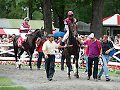 Odds-on stablemates Centring  and Closing Move (1A) in the paddock on Friday. Centring won.