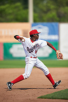 Auburn Doubledays third baseman Omar Meregildo (18) throws to first base for the out during the second game of a doubleheader against the Mahoning Valley Scrappers on July 2, 2017 at Falcon Park in Auburn, New York.  Mahoning Valley defeated Auburn 3-2.  (Mike Janes/Four Seam Images)