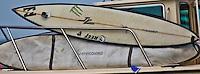 Half Moon Bay, California - January 24, 2014: 2014 Maverick's Invitational Big wave equipment.
