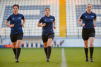20190227 - LARNACA , CYPRUS : German assistant referee Katrin Rafalski (left) , German referee Riem Hussein (middle) and Scottish assistant referee Kylie Cockburn (right) pictured during a women's soccer game between Thailand and Hungary , on Wednesday 27 February 2019 at the Antonis Papadopoulos Stadium in Larnaca , Cyprus . This is the first game in group B for both teams during the Cyprus Womens Cup 2019 , a prestigious women soccer tournament as a preparation on the FIFA Women's World Cup 2019 in France and the Uefa Women's Euro 2021 qualification duels. PHOTO SPORTPIX.BE | STIJN AUDOOREN