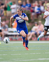 In a National Women's Soccer League Elite (NWSL) match, Portland Thorns FC defeated the Boston Breakers, 2-1, at Dilboy Stadium on July 21, 2013.  Boston Breakers defender Cat Whitehill (4).