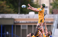 31st August 2020; Recreation Ground, Bath, Somerset, England; English Premiership Rugby, Jack Willis of Wasps competes for the ball at the lineout with Josh McNally of Bath