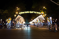 Non La hats light up Le Euan street in Ho Chi Minh City Vietnam 2013 TET