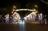 Non La hats light up Le Euan street in Ho Chi Minh City Vietnam 2013 TET