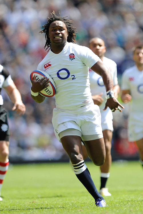Marland Yarde of England in action during the match between England and Barbarians at Twickenham on Sunday 26th May 2013 (Photo by Rob Munro)