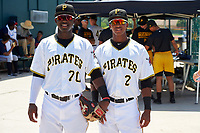 GCL Pirates Rodolfo Castro (70) and Lolo Sanchez (2) before a game against the GCL Braves on July 26, 2017 at Pirate City in Bradenton, Florida.  GCL Braves defeated the GCL Pirates 12-5.  (Mike Janes/Four Seam Images)