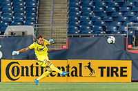 FOXBOROUGH, MA - AUGUST 7: Joe Rice #51 of New England Revolution II takes a goal kick during a game between Orlando City B and New England Revolution II at Gillette Stadium on August 7, 2020 in Foxborough, Massachusetts.