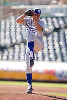 Dakota Bacus (31) of the Indiana State Sycamores winds up during a game against the Evansville Purple Aces in the 2012 Missouri Valley Conference Championship Tournament at Hammons Field on May 23, 2012 in Springfield, Missouri. (David Welker/Four Seam Images)
